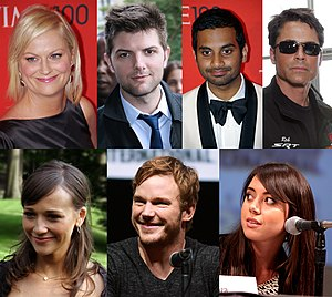 English: Members of the regular cast of the Am...