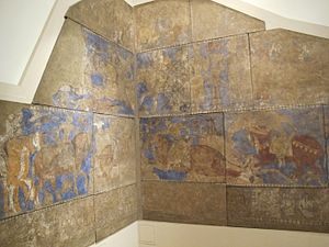 History of Central Asia - The monumental Sogdian wall murals of Panjakent (modern Tajikistan), showing cavalry and horse riders, dated c. 740 AD