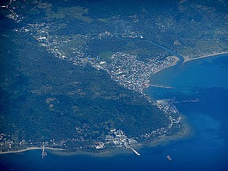 Pasacao, Camarines Sur - Aerial shot of Pasacao with its port and oil depot.