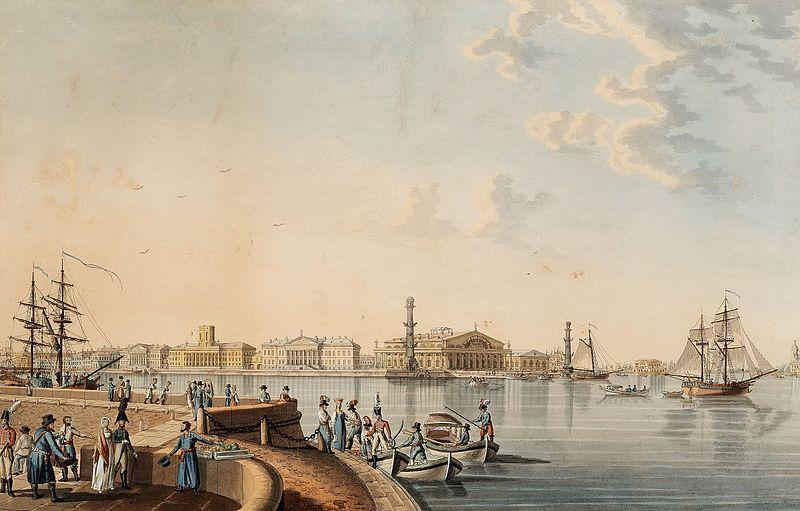 File:Patersen Strelka (spit) of Vasilyevsky Island as seen from Dvortsovaya embankment 1807.jpg