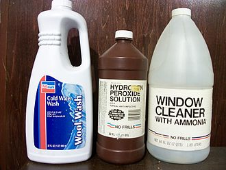 """Pathmark - Example of retired Pathmark generic brands. This bottle of wool wash bears Pathmark's then-new late 1990s logo, while the peroxide and window cleaner are from Pathmark's """"No Frills"""" brand introduced during the 1980s generic product craze"""