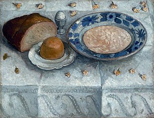 Still life with milk soup (breakfast table)
