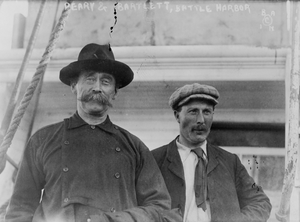 Robert Bartlett (explorer) - Captain Robert Bartlett and Robert Peary, standing on ship, Battle Harbour, Labrador in 1909