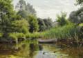 Peder Mønsted - En skovsø med en robåd, i baggrunden et hus - 1903.png