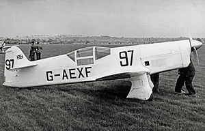 Percival Mew Gull - Mew Gull G-AEXF wearing racing number 97 when competing in the 1953 UK National Air Races at Wolverhampton (Pendeford) airfield in May 1953