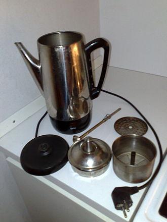 Coffee percolator - A disassembled electric coffee percolator