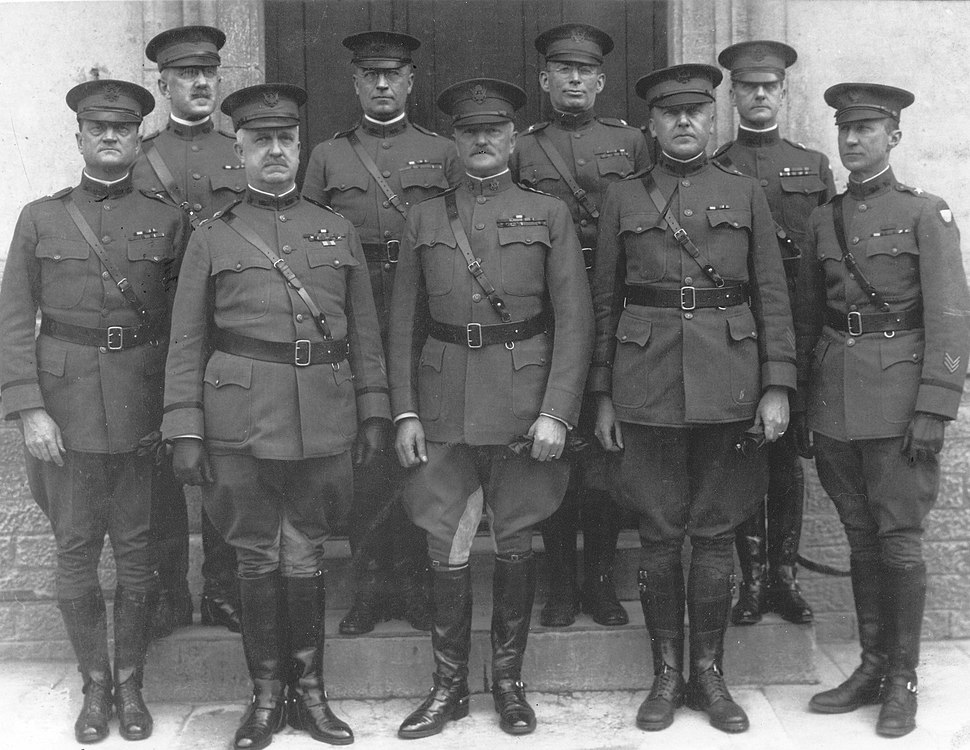 Pershing and his General Staff at Headquarters, Chaumont