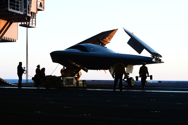 File:Personnel move a U.S. Navy X-47B Unmanned Combat Air System demonstrator aircraft onto an aircraft elevator aboard the aircraft carrier USS George H.W. Bush (CVN 77) May 14, 2013, in the Atlantic Ocean 130514-N-TB177-050.jpg
