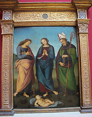 Maria, Johannes Ev. und der hl. Nikolaus (Augustinus?) beten das Christkind an