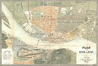 Siege of Buda (1849) - The Hungarian capitals Pest and Buda in 1850