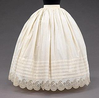 skirt-like undergarment, sometimes intended to show, worn under a skirt or dress