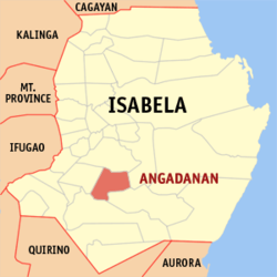 Map of Isabela showing the location of Angadanan
