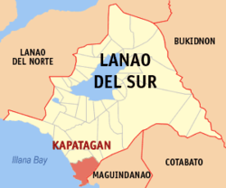 Map of Lanao del Sur with Kapatagan highlighted