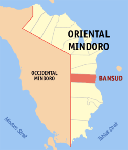 Map of New Mindoro showing the location of Bansud.