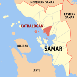 Map of Samar showing the location of Catbalogan