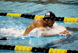 Breaststroke Swimming style in which the swimmer is on his or her chest and the torso does not rotate