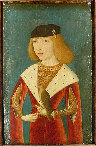 Musée de la Chasse et de la Nature - Philip the Handsome (1478-1506), Duke of Burgundy, holding a hooded falcon, displayed in the Falconry Room