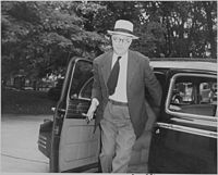 Photograph of Secretary of Labor Lewis Schwellenbach, evidently arriving at the White House for a Cabinet meeting. - NARA - 199146.jpg