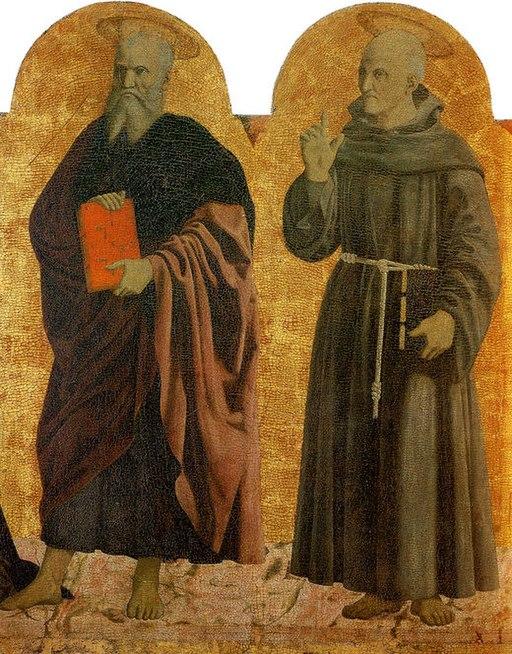 Piero della Francesca, Polittico della Misericordia, particolare con i nimbi del San Giovanni evangelista e San Bernardino, Sansepolcro, Museo Civico