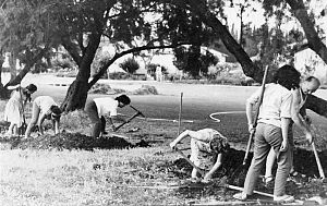 Waiting period (Six-Day War) - Digging trenches on kibbutz Gan Shmuel before the Six-Day War