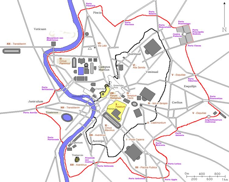 Datei:Plan Rome- Aureliaanse Muur.png