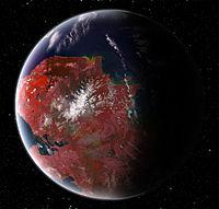 Vue d'artiste d'une planète super-habitable.