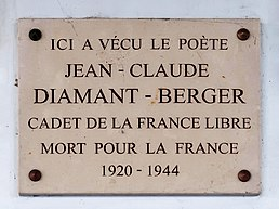 Plaque Jean-Claude Diamant-Berger, 288 rue Saint-Jacques, Paris 5e.jpg