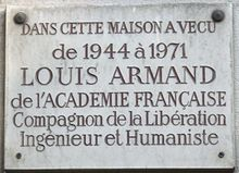 Plaque Louis Armand, 30 avenue de Villiers, Paris 17.jpg