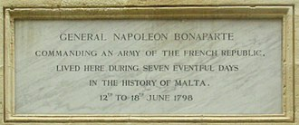 French occupation of Malta - Plaque on Palazzo Parisio referencing Napoleon's stay there.