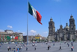 The Zócalo, the main plaza of Mexico City and the heart of the Historic Centre