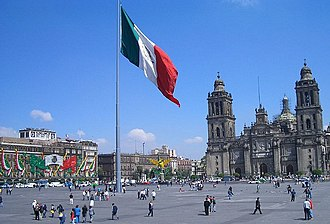 Historic center of Mexico City - The Zócalo, the main plaza of Mexico City and the heart of the Historic Centre