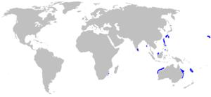 Deepwater stingray - Image: Plesiobatis daviesi rangemap