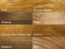 Samples of 8 popular Amish furniture wood types