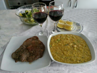 Corn stew - Mazamorra (at right, in Chile) is a type of corn stew. The version in the image is prepared with maize and beans