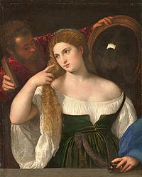 Portrait d'une Femme à sa Toilette, by Titian, from C2RMF retouched.jpg