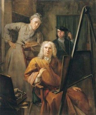 Dordrechts Museum - Image: Portrait of Cornelis van Lill his son and the painter, Aert Schouman (1735)