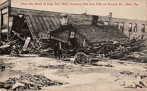 History of Erie, Pennsylvania - French Street between 12th and 13th Streets after the August 3, 1915 flood