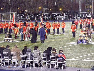 The Royal Regiment of Canada - Prince Charles, Prince of Wales, presents new colours to the Royal Regiment of Canada and Toronto Scottish Regiment at Varsity Stadium in Toronto, 5 November 2009.