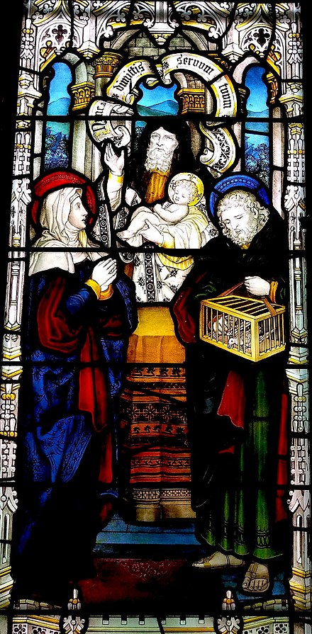 Presentation of Jesus, showing (L to R) Mary, Simeon (holding Jesus), and Joseph with doves as a Temple sacrifice, stained glass window ca. 1896, Church of the Good Shepherd (Rosemont, Pennsylvania) Presentation of Jesus in the Temple, stained glass window.jpg
