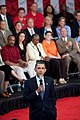 President Barack Obama listens to a question at a town hall meeting at Broughton High School in Raleigh, N.C. on July 29, 2009.jpg
