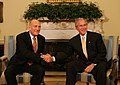 President George W. Bush and Prime Minister Ehud Olmert of Israel, shake hands during a photo opportunity prior to their meeting.jpg