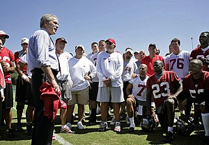 2006 Tampa Bay Buccaneers season - President George W. Bush visits the Bucs at practice before their week 3 game against the Carolina Panthers