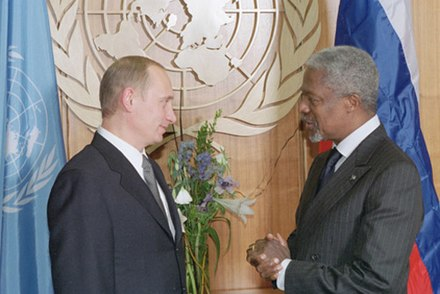 Annan with the President of Russia Vladimir Putin at United Nations Headquarters in New York City on 16 November 2001. President Vladimir Putin with UN Secretary General Kofi Annan.jpg