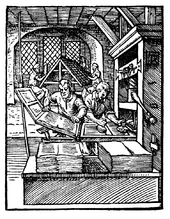 This Woodcut From 1568 Shows The Left Printer Removing A Page Press While One At Right Inks Text Blocks Such Duo Could Reach 14000 Hand