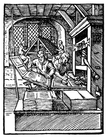 This woodcut from 1568 shows the left printer removing a page from the press while the one at right inks the text-blocks. Such a duo could reach 14,000 hand movements per working day, printing around 3,600 pages in the process.[4]