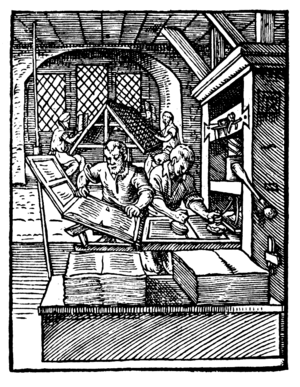 Early New High German -  A printing press, c. 1568