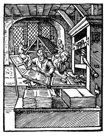 This woodcut from 1568 shows the left printer removing a page from the press while the one at right inks the text-blocks. Such a duo could reach 14,000 hand movements per working day, printing around 3,600 pages in the process. Printer in 1568-ce.png