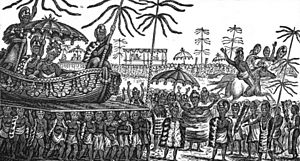 Kalanipauahi - Celebratory procession of the feast of Kamehameha, 1823. Pauahi's float is probably in the background.