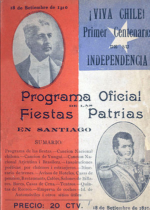 Official plans for the Centennial of Chile, in 1910. Pedro Montt is pictured at the top, and Bernardo O'Higgins at the bottom. Image: Memoria Chilena.