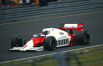 McLaren MP4/2 - Alain Prost driving the McLaren MP4/2B at the 1985 German Grand Prix.